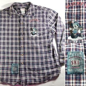 VTG Disney Store Mickeys Ski Lodge Flannel Shirt